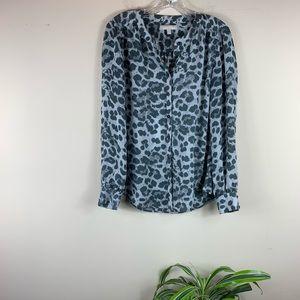 Banana Republic Grey Snow Leopard Buttonup Blouse